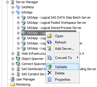 Management Console server validation